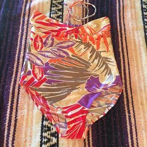 Vintage palm print one piece swim suit 70s 80s